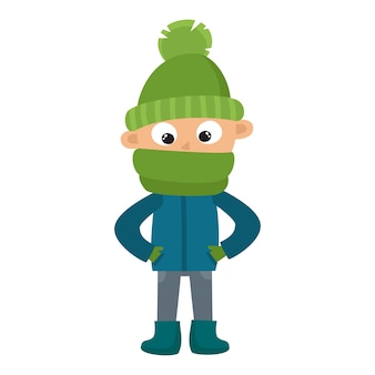 Adolescente com grande lenço verde e chapéu isolado no branco