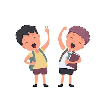 Adolescente com uma mochila acena com a mão. estudante satisfeito. adequado para projetos de volta às aulas ou férias. isolado. vetor.