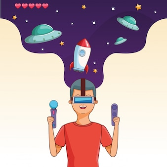 Adolescente, com, videogame, caricatura