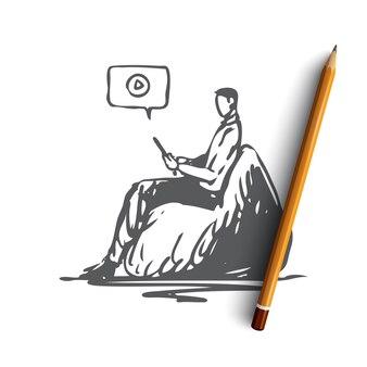 Adolescente desenhado à mão nas redes sociais Vetor Premium