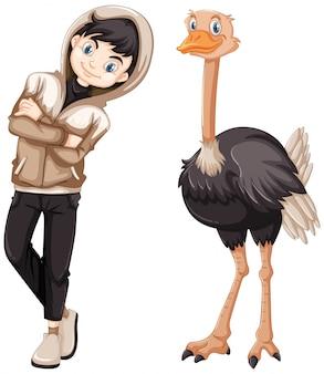 Adolescente e avestruz selvagem