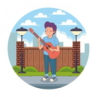 Adolescente, em, a, cidade, caricatura, redondo, ícone
