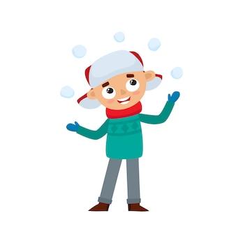 Adolescente feliz em roupas de inverno, brincando com bolas de neve, ilustração