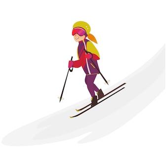 Adolescente feliz esqui downhill, esporte de inverno