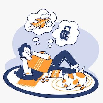 Adolescente improdutivo sonhando acordado com ilustração de rabiscos de viagem