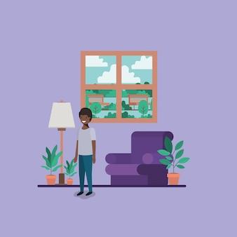 Adolescente, menino preto, em, livingroom