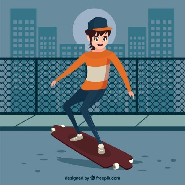 Adolescente moderno com seu skate na cidade