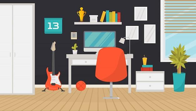 Adolescente moderno quarto interior ou escritório em casa com espaço de trabalho da moda