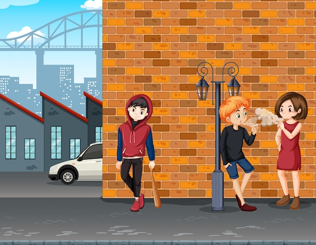 Adolescente problema urbano na cidade