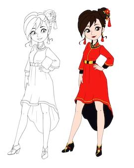 Adolescente que veste o traje tradicional chinês.