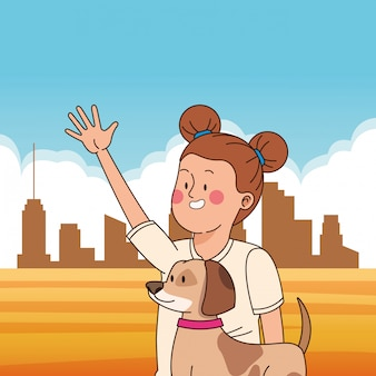 Adolescente, sorrindo, e, andando cachorro, caricatura