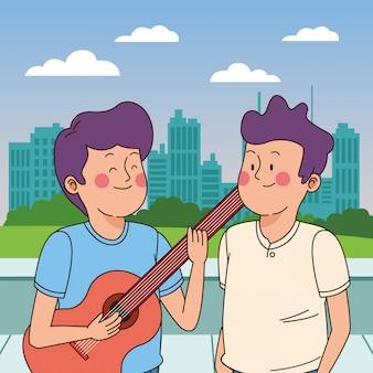 Adolescentes amigos sorrindo e se divertindo