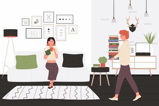 Adolescentes de alunos estudam e leem ilustração vetorial juntos. desenhos animados de personagens jovens e amigas felizes estudando, adolescentes lendo livros educacionais em casa