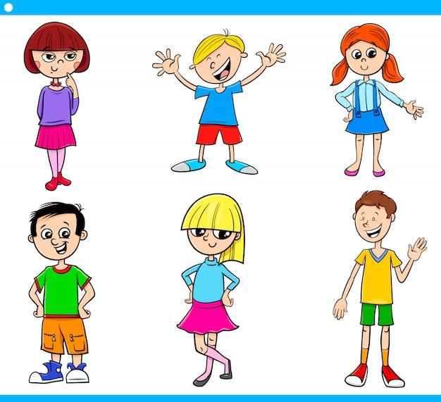 Adolescentes dos desenhos animados e conjunto de caracteres de crianças