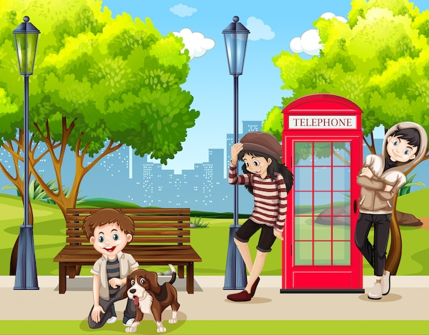 Adolescentes, e, cão, parque