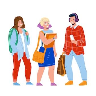Adolescentes estudantes estudando em vetor de universidade. jovem rapaz segurando o smartphone e ouvindo música em fones de ouvido e estudante de meninas com livro de educação e mochila. personagens plana ilustração dos desenhos animados
