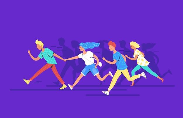 Adolescentes executando a ilustração em vetor conceito para a frente de adolescentes felizes correndo juntos para alcançar a meta. jovens, vários homens e mulheres vestindo roupas casuais, apressando-se e correndo para a frente