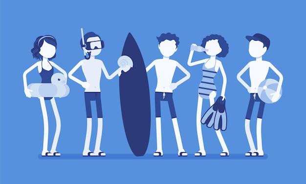 Adolescentes gostam de esportes e atividades aquáticas na praia