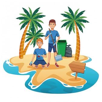 Adolescentes, limpeza, praia