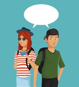 Adolescentes, menino e menina falando discurso de bolha