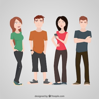 Adolescentes personagem plano Set