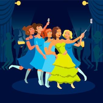Adolescentes que têm o divertimento no desenho liso do clube noturno.