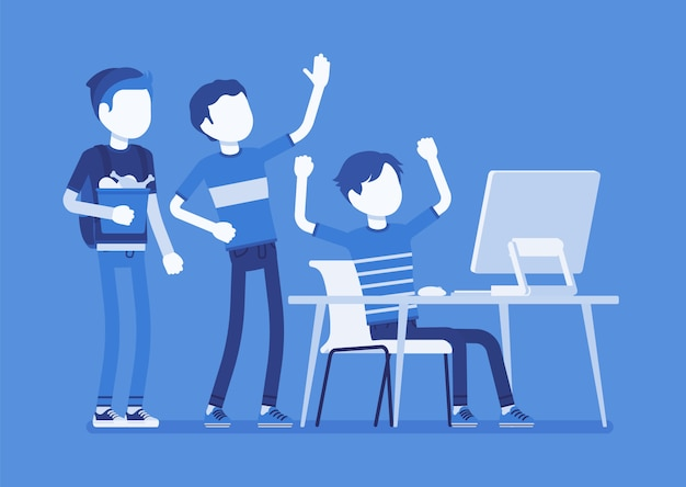 Adolescentes se divertem no computador. grupo de amigos assistindo na tela do pc em diversão, diversão, rindo de streaming de vídeo, bate-papo, jogos, música ou rede social. ilustração com personagens sem rosto