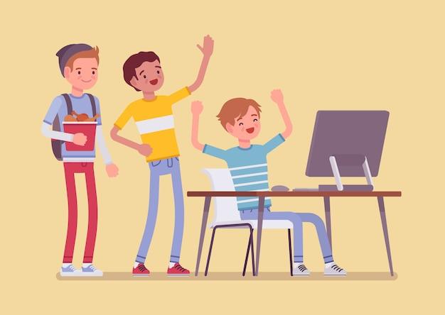 Adolescentes se divertem no computador