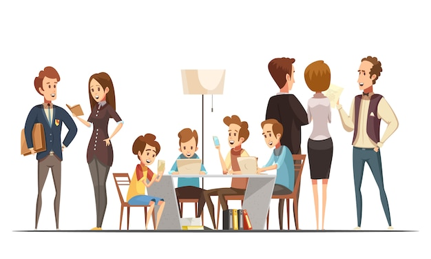 Adolescentes, sentando, com, notebooks, laptops, e, smartphones, em, mídia educacional, centro, cartaz, retro, caricatura, vetorial, ilustração