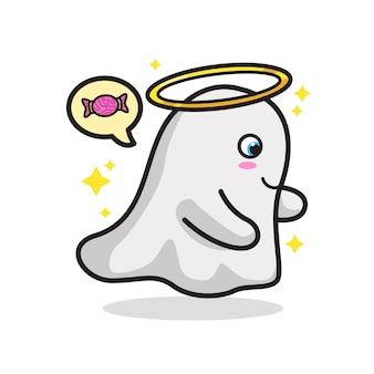 Adorable ghost halloween cute line art ilustração