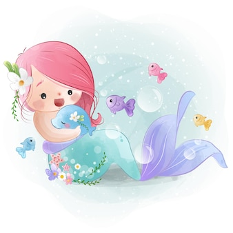 Adoráveis amigas da pequena sereia com um peixe