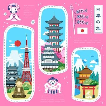 Adoráveis atrações famosas do japão o japão viaja em japonês no canto superior direito