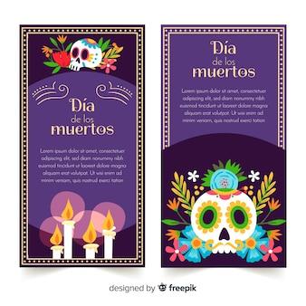 Adoráveis banners de día de muertos com design plano