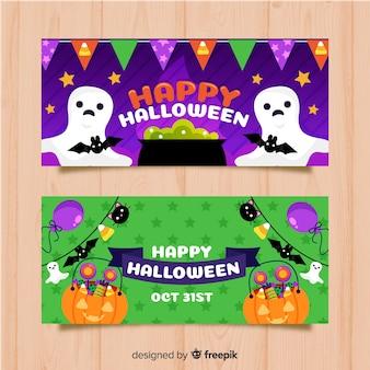 Adoráveis banners de halloween com design plano
