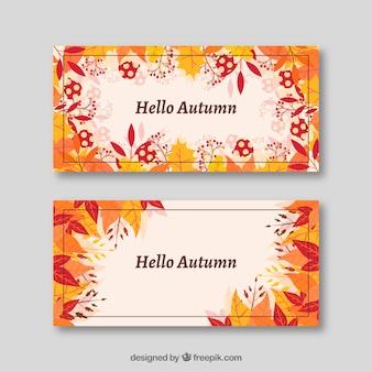 Adoráveis banners de outono bem-vindos com design plano