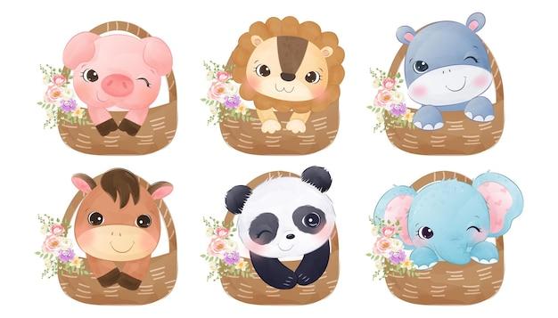 Adoráveis bebês animais na cesta de clipart