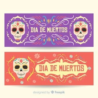 Adoráveis dia de muertos banners