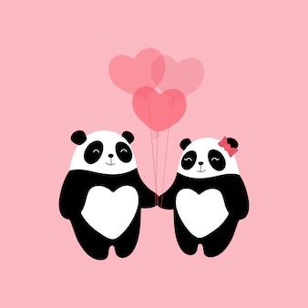 Adoráveis pandas apaixonados, um presente para o dia dos namorados, uma declaração de amor, balões em forma de coração.
