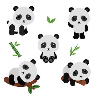 Adoráveis pandas em estilo simples.