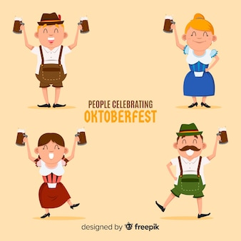 Adoráveis personagens comemorando oktoberfest