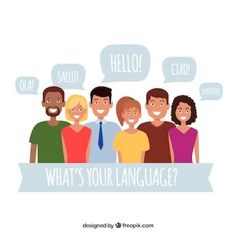 Adoráveis personagens planos falando idiomas diferentes
