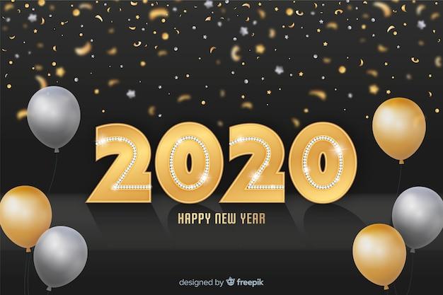 Adorável 2020 brilhos dourados backround