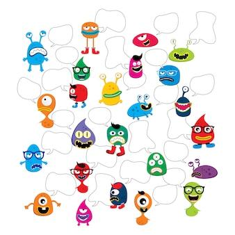 Adorável adorável feio assustador mascote engraçado monstro conjunto vector art