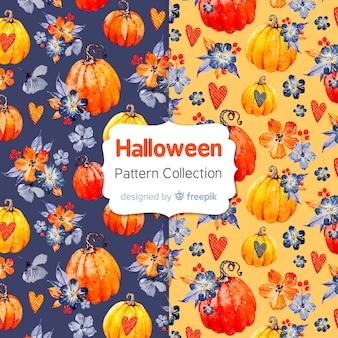 Adorável aguarela coleção padrão de halloween