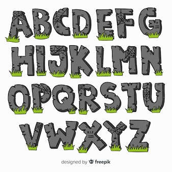 Adorável alfabeto de halloween