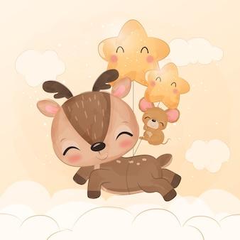Adorável amizade de renas e ratos bebês na ilustração em aquarela
