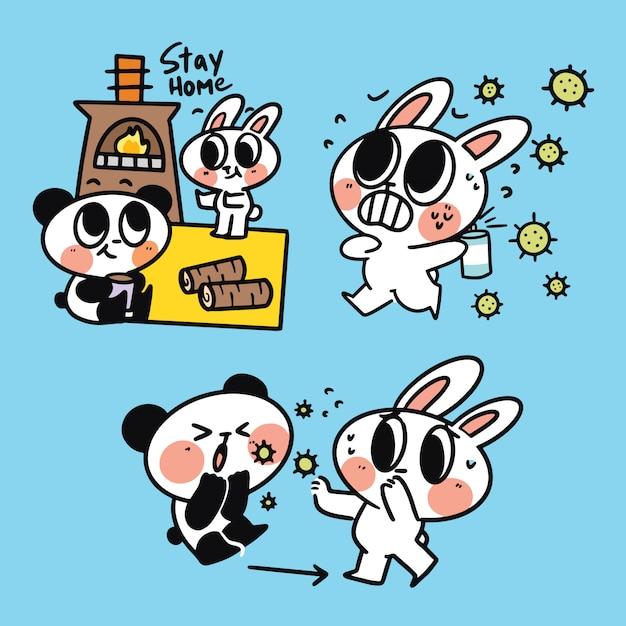 Adorável animal amigável animal bonito coelho panda a salvo de corona campanha ilustração doodle