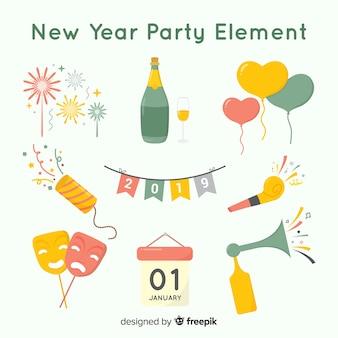 Adorável ano novo festa coleção de elementos com design plano