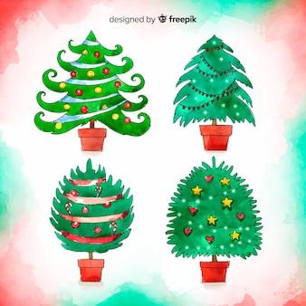 Adorável aquarela árvore de natal coleção
