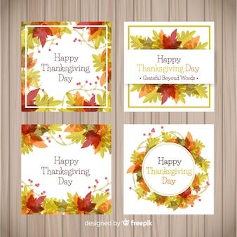 Adorável aquarela coleção de cartão de ação de graças